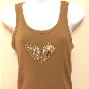Twisted Heart Tan Peace Tank Top